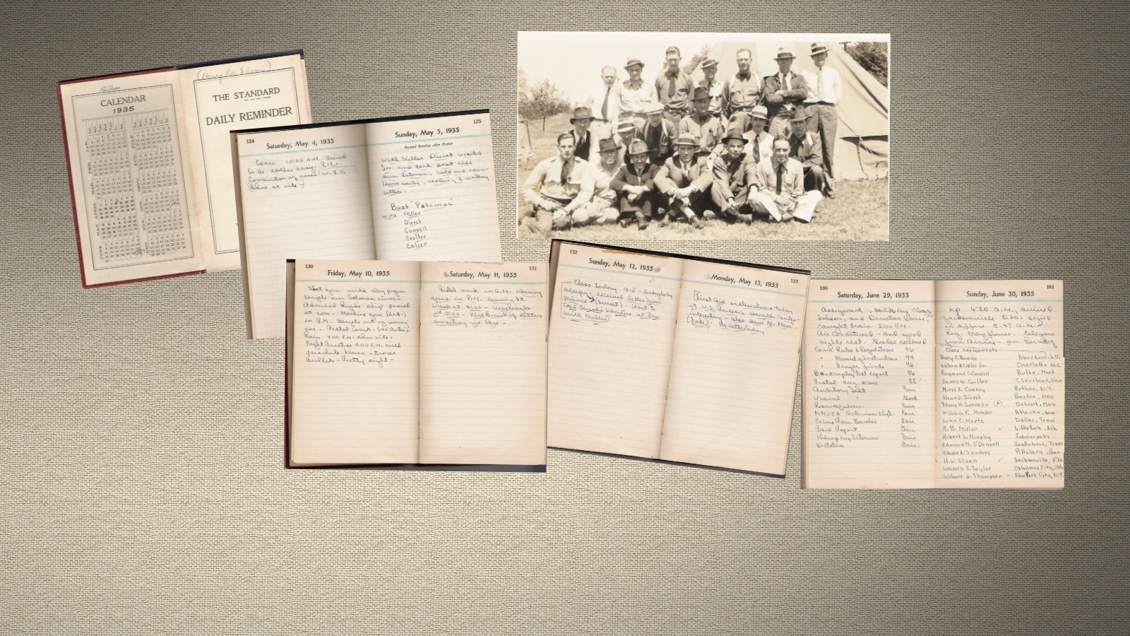 Random Pages Of Sloan's Diary & Training Photo - 1935
