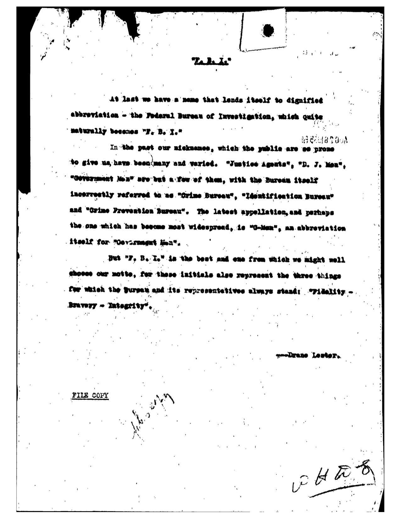 Lester's original document (copy) from FBI files.