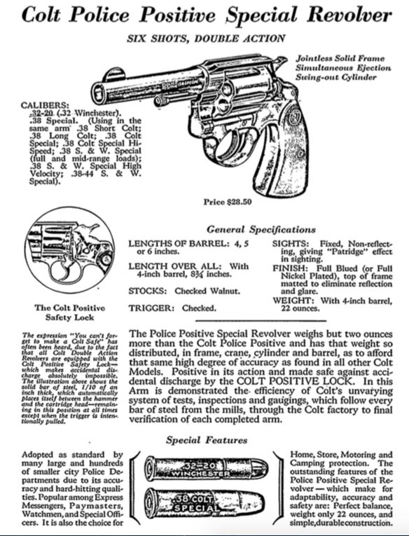 1930s Colt Advertising - The Colt Police Positive was selected by the Bureau as it's first main handgun - Click to enlarge