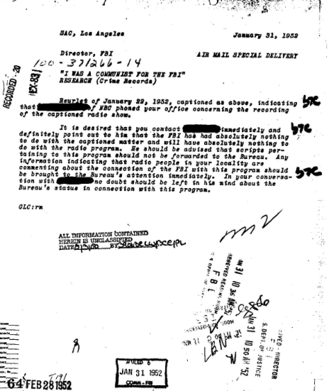 """"""" I Was A Communist For The FBI"""" - An internal memo revealing the Bureau played no role in production of this specificradio program and was not endorsed by the FBI"""