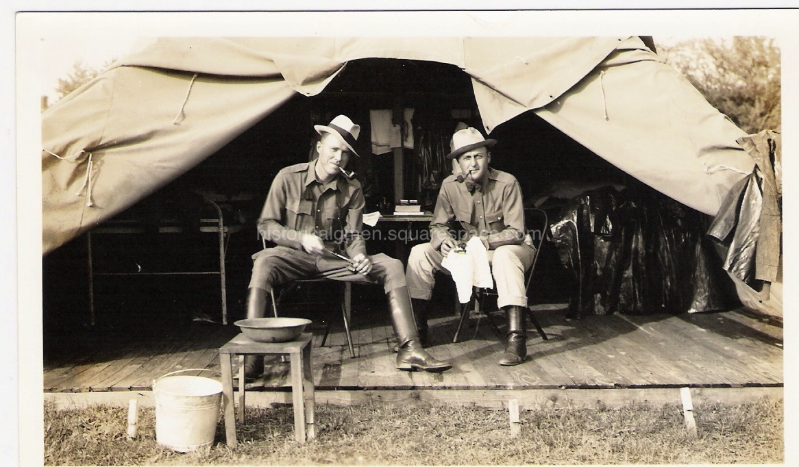 """Special Agent trainees, Henry """"Hank"""" Sloan (left)and R. B. Miller at the Ft. Washington, MD. Army training camp - circa 1935.(Courtesy: Sloan family)"""