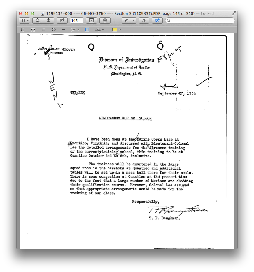 """A September, 1934 memo from """"Frank"""" Baughman prepares the Director and others for what was probably the FIRST training at the Quantico, Va. Marine base."""
