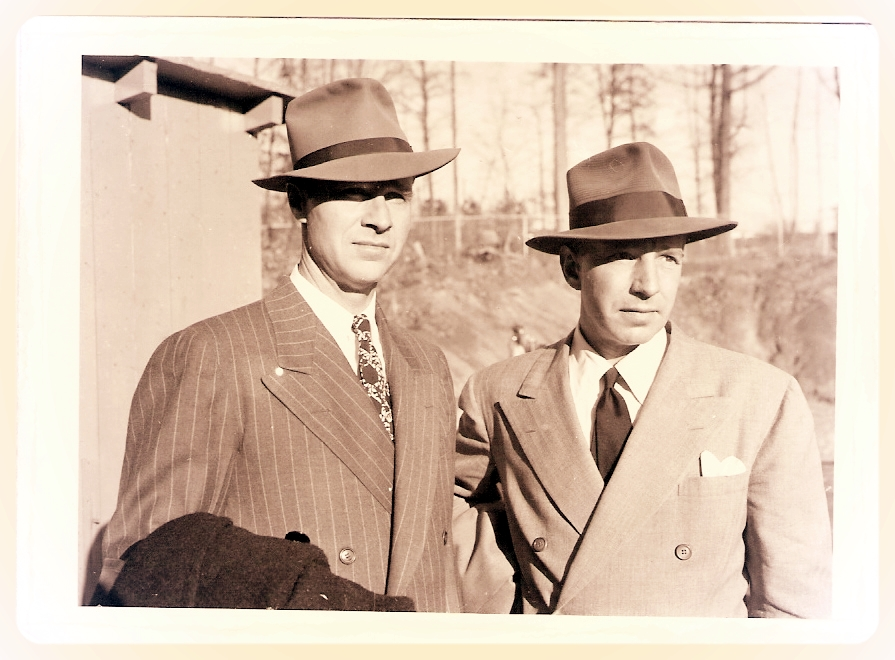 """Hank"" Sloan (left) with actor Llyod Nolan during the filming of ""House On 92nd Street."" (courtesy Sloan family)"