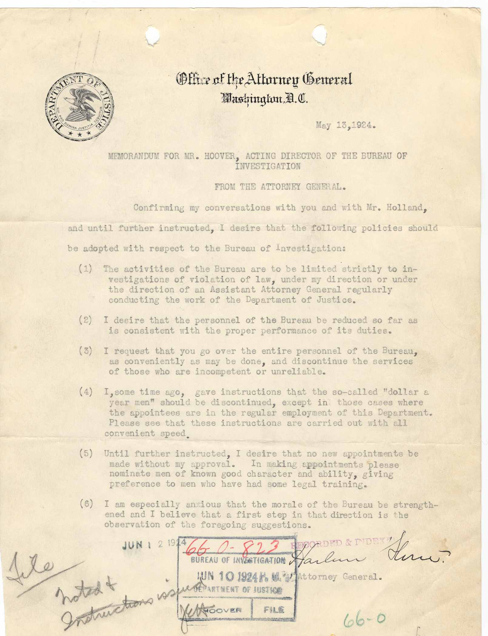 """From FBI files: An original copy of the agreement between incoming Director Hoover and Attorney General, Harlan Stone 1924. Hoover's initials """"JEH"""" and his inscription on issuing instructions to his underlings is shown."""