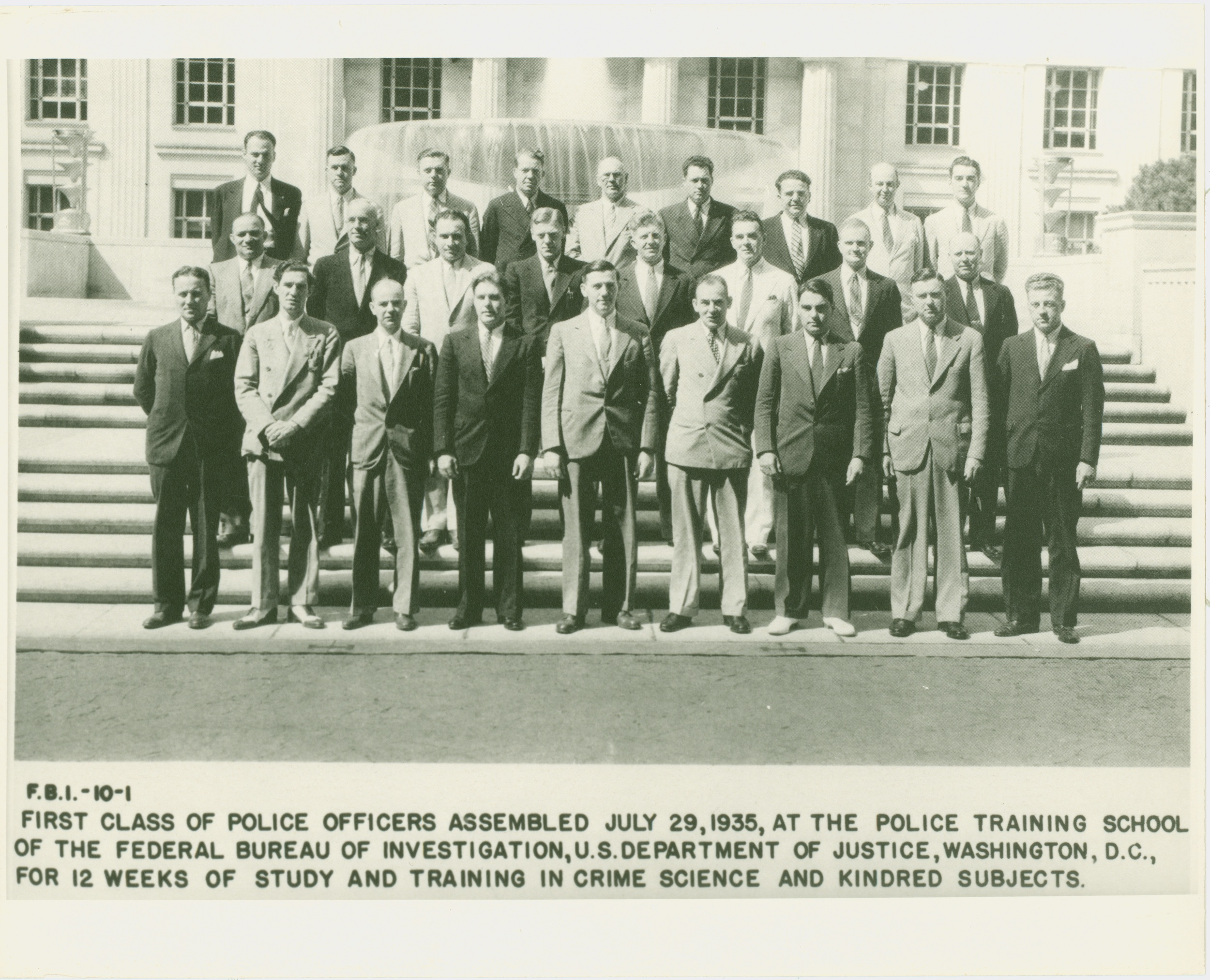 "(Photo courtesy FBI; names not immediately available)   Eighty years ago, on July 29, 1935, the FBI opened its training facilities and expertise to law enforcement officers across the U.S., and the  FBI's National Academy  was born. The FBI's historian, Dr. John Fox tells us:   The idea of a national training academy was first raised in late 1934 as part of U.S. Attorney General Homer Cummings' ""war on crime."" FBI Director J. Edgar Hoover then fleshed out an idea for professional education for law enforcement officers at the annual meeting of the International Association of Chiefs of Police (IACP) held in early July 1935. An IACP committee on police training had urged Director Hoover, who spoke at the conference on the value of professional police training, to consider offering such training under FBI auspices.   FBI Assistant Director Hugh Clegg, sometimes referred to as the founder of the National Academy, was tasked with a monumental job. A manuscript we found in his personnel file supports the above and gives us some insight into a remarkable achievement within just a one month period. Clegg's papers read, in part,    ""Mr. Hoover returned to Washington, [called for Clegg], discussed the request briefly and asked for a quick call to several SACs for their opinion due to their close relationships with local agencies. They were requested to contact some local police executives for their views. [Clegg] was instructed to organize the police school, prepare a detailed curriculum, select an assign a faculty from the supervisor staff of the FBI, and select and recruit an outstanding group to serve as a visiting faculty from the ranks of universities, police agencies and other sources. All of this planning was to be accomplished including the selection and investigation of, and invitation to, students and Mr. Hoover's final approval of all phases --within that same month: July 1935.""    An April, 1936 press release from the FBI is found here"