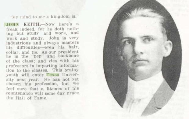 John M. Keith as a senior at Dublin High, Dublin, Texas