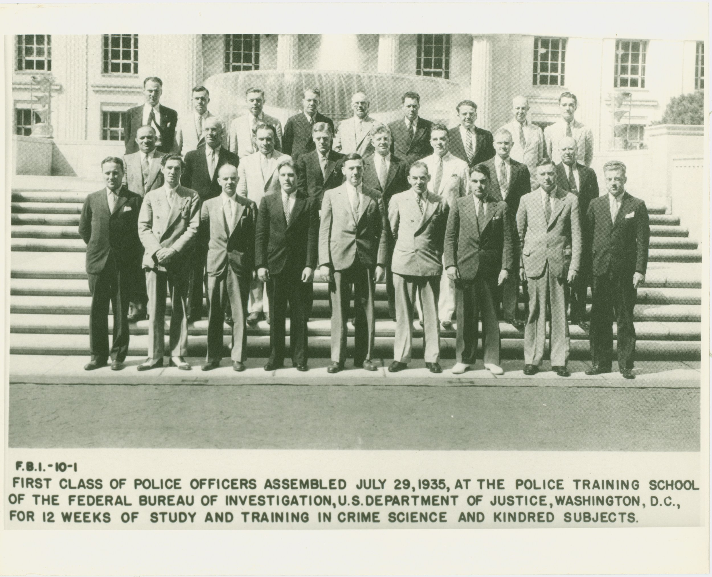 """First known as the FBI """"Police Training School"""" this is the first class of graduates of what was renamed the FBI's National Academy. There was 1 class in 1935 and 2 classes in 1936."""