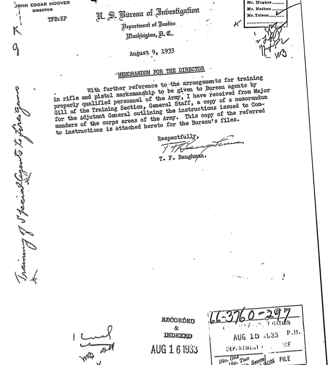 """This 1933 memo from """"Frank"""" Baughman reveals in no uncertain terms, the original relationship between the U. S. Army and the FBI."""