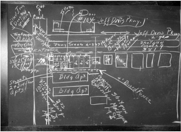 The arrest plan for Karpis as drawn by SAC Earl Connelley, FBI (courtesy FBI)
