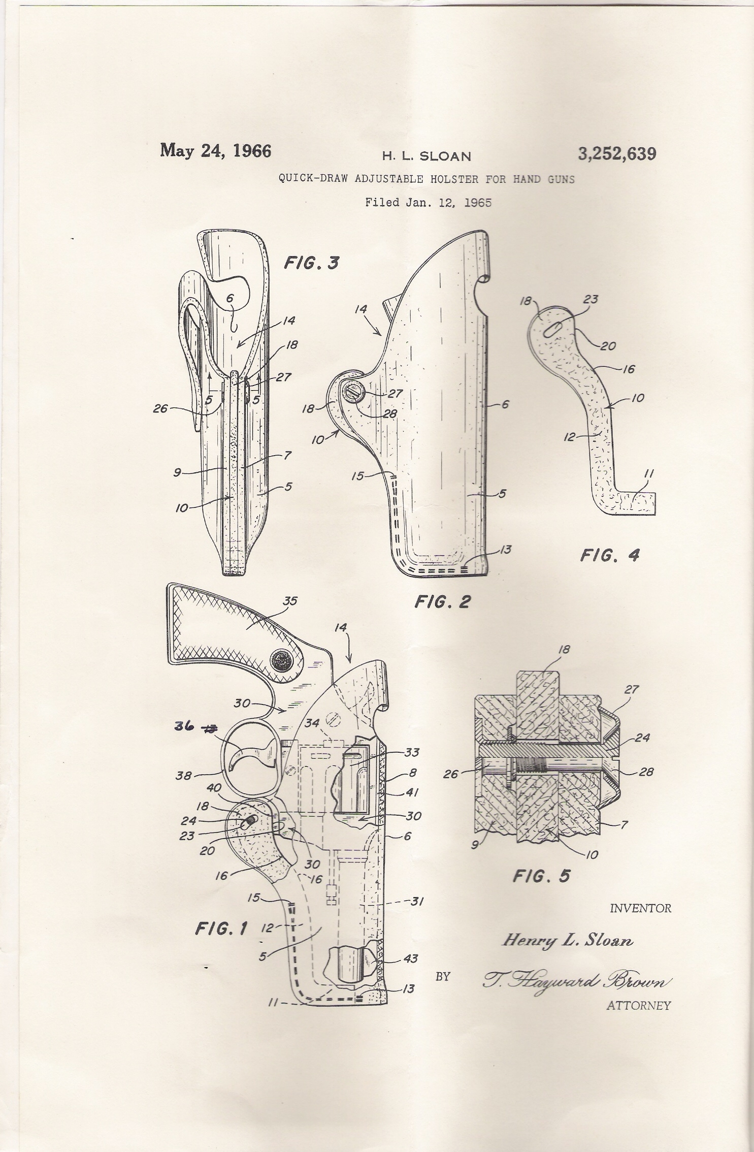 "A copy of the original ""Sloan Holster"" Patent of 1966."