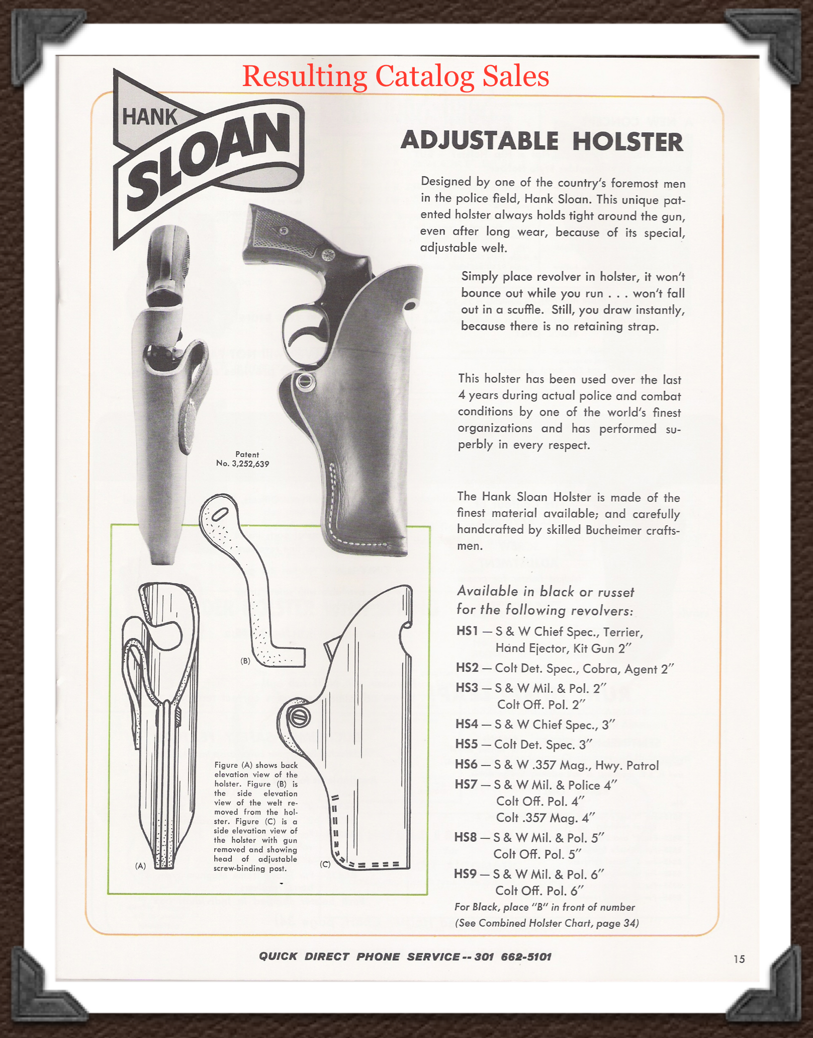 "The ""Sloan Holster"" as it appeared in Bucheimer's catalog."