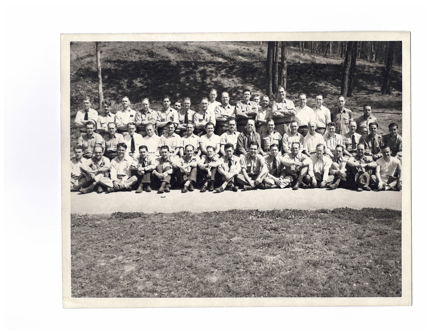 The above photo was taken in 1945 with many of the 30's G-Men present. An In-Service Training Class,  SA Robert A. Guerin is shown in the second row, 7th from the right. At the time, Robert Guerin was SAC in the Detroit FBI Office. Others are currently not identified currently.  (Photo courtesy retired SA Rudy Guerin, Robert's son.)