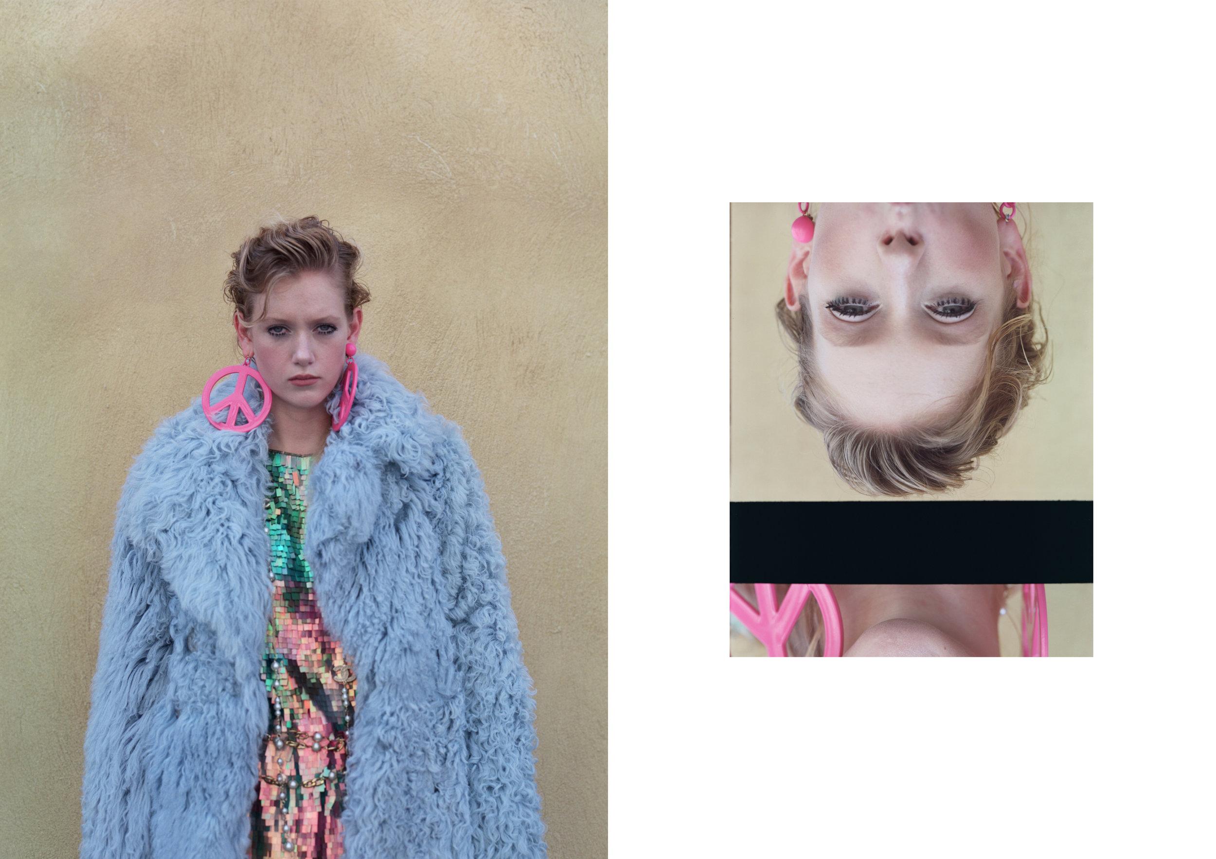 earrings MOSCHINO, fur GUCCI, dress SPORTMAX,belt CHANEL / AU VINTAGE