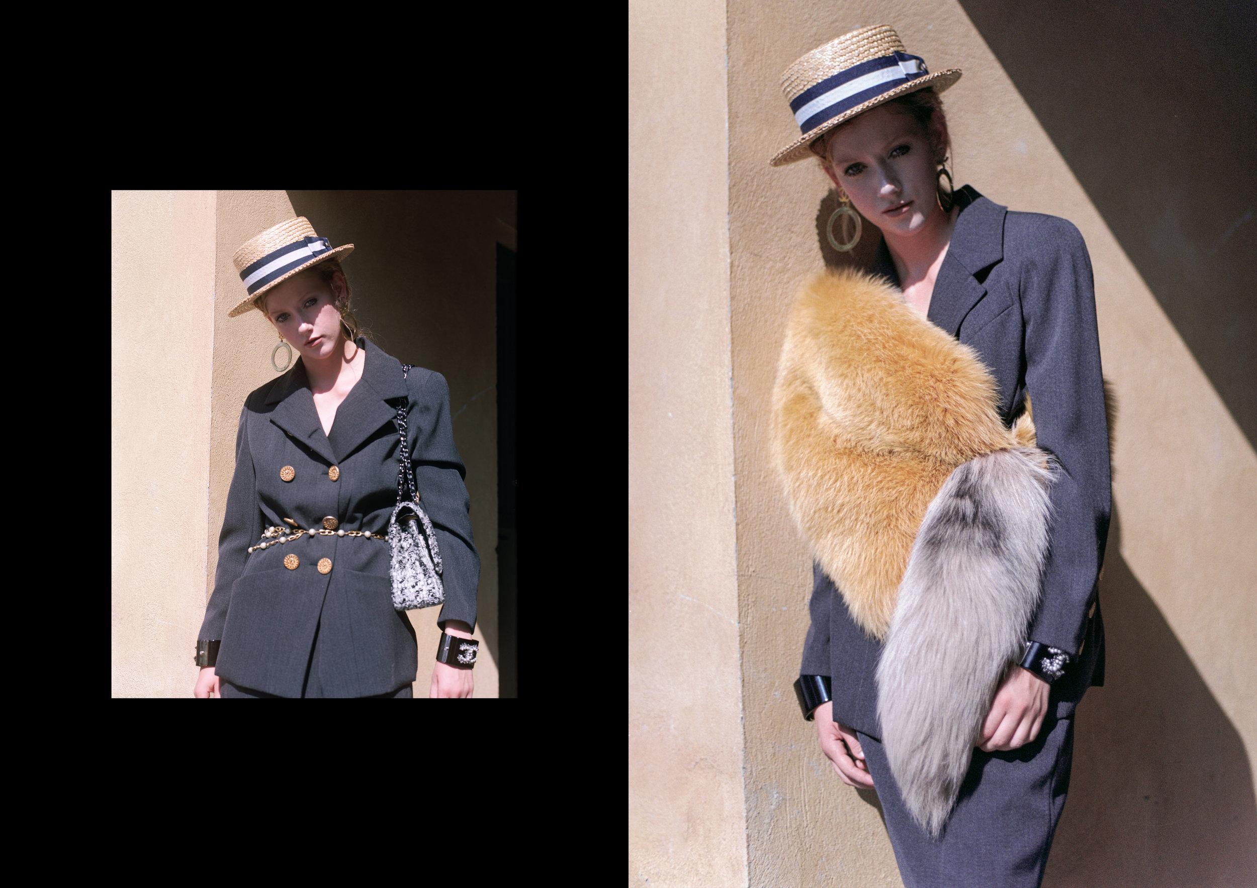 left image ALL CHANEL, right image fur MIU MIU, suit CHANEL, bracelets CHANEL