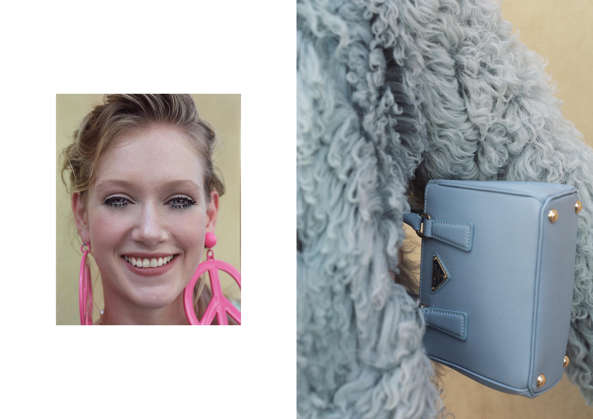earrings MOSCHINO, fur GUCCI, bag PRADA