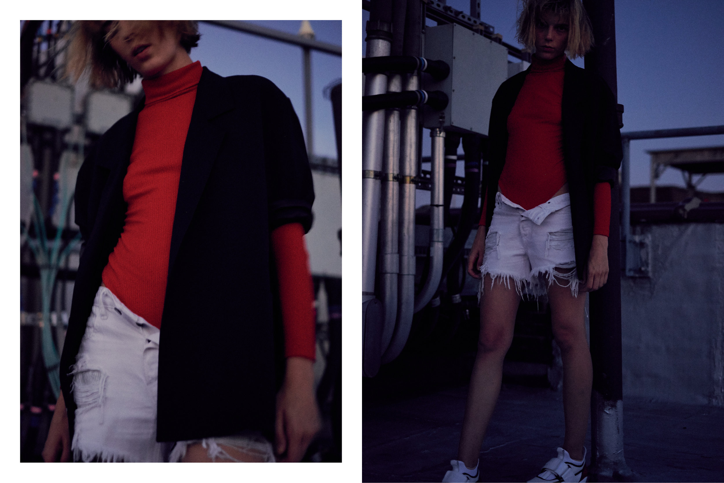 blazer  SECOND / LAYER , bodysuit STYLIST'S OWN, shorts  ALEXANDER WANG , sneakers  MSGM