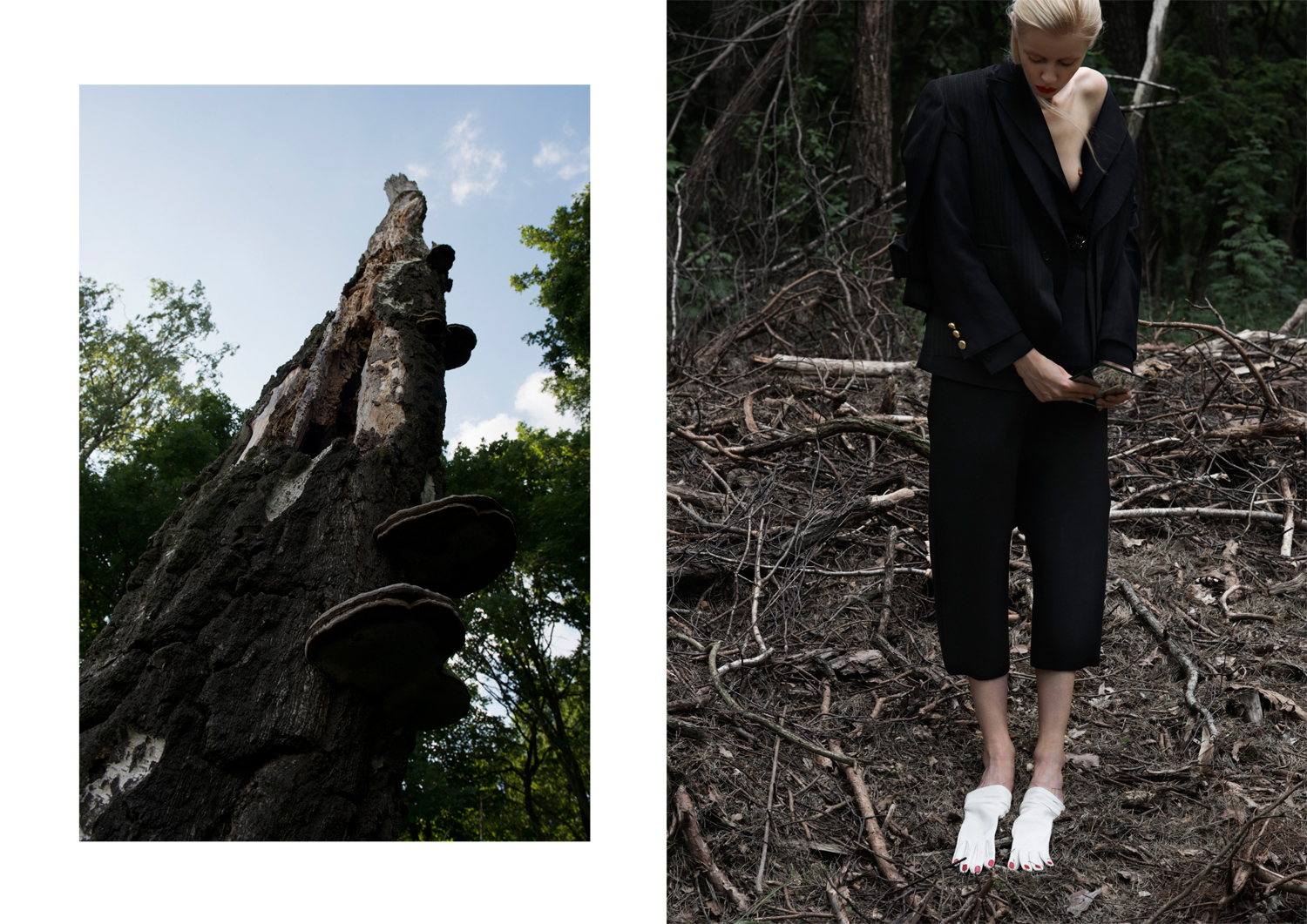 blazer from the outside inwards  COMME DES GARCONS ,  BADGLEY MISCHKA ,  LANVIN , trousers  RUNDHOLZ , gloves as socks  CHARLOTTE OLYMPIA