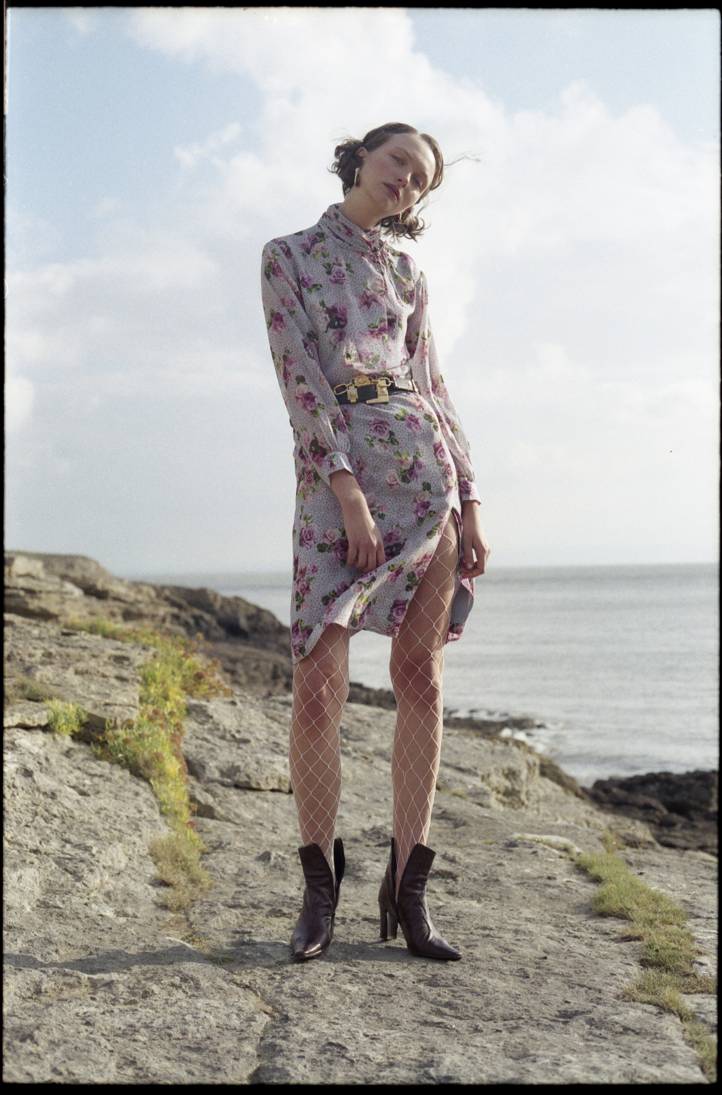 dress  TOPSHOP UNIQUE , belts + boots VINTAGE, earrings  TOPSHOP , fishnet tights STYLIST'S OWN