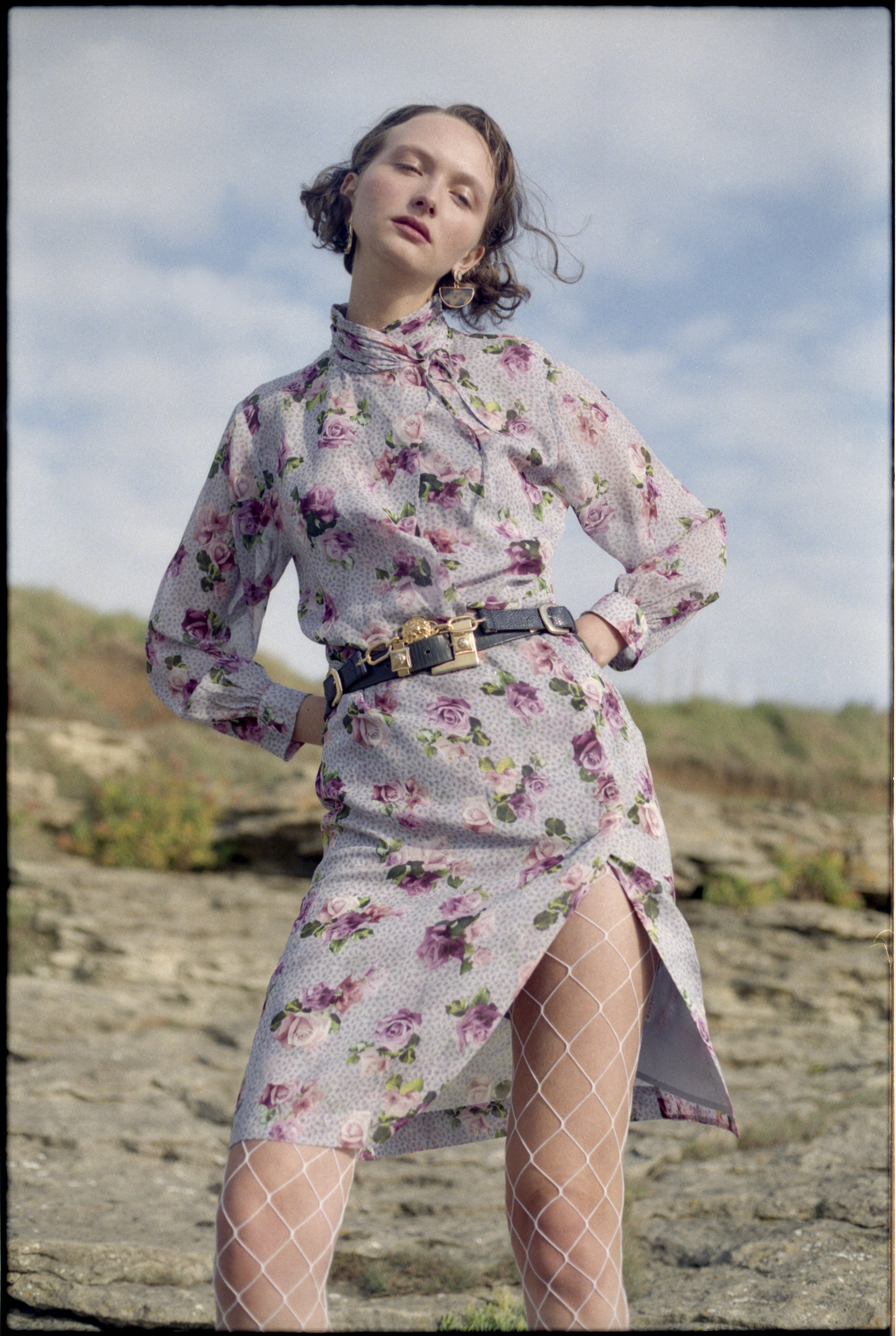 dress  TOPSHOP UNIQUE , belts VINTAGE, earrings  TOPSHOP , fishnet tights STYLIST'S OWN
