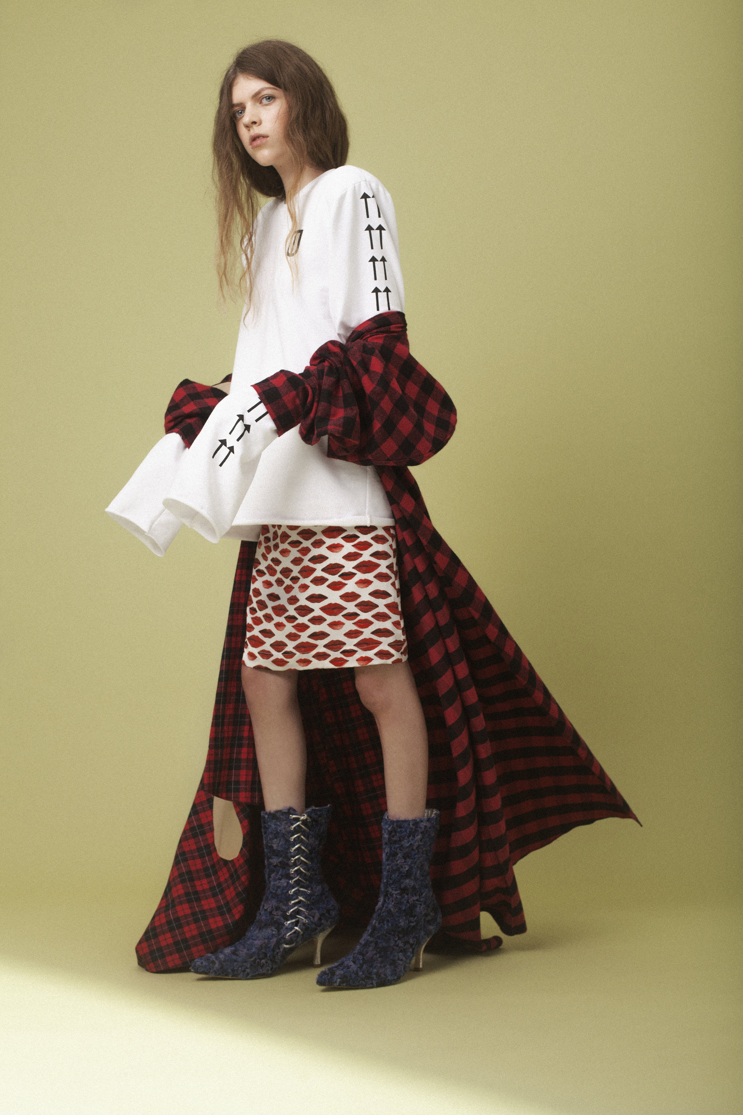 top  THIS IS THE UNIFORM , dress  A.W.A.K.E , skirt  PETER JENSEN , boots  RYAN LO