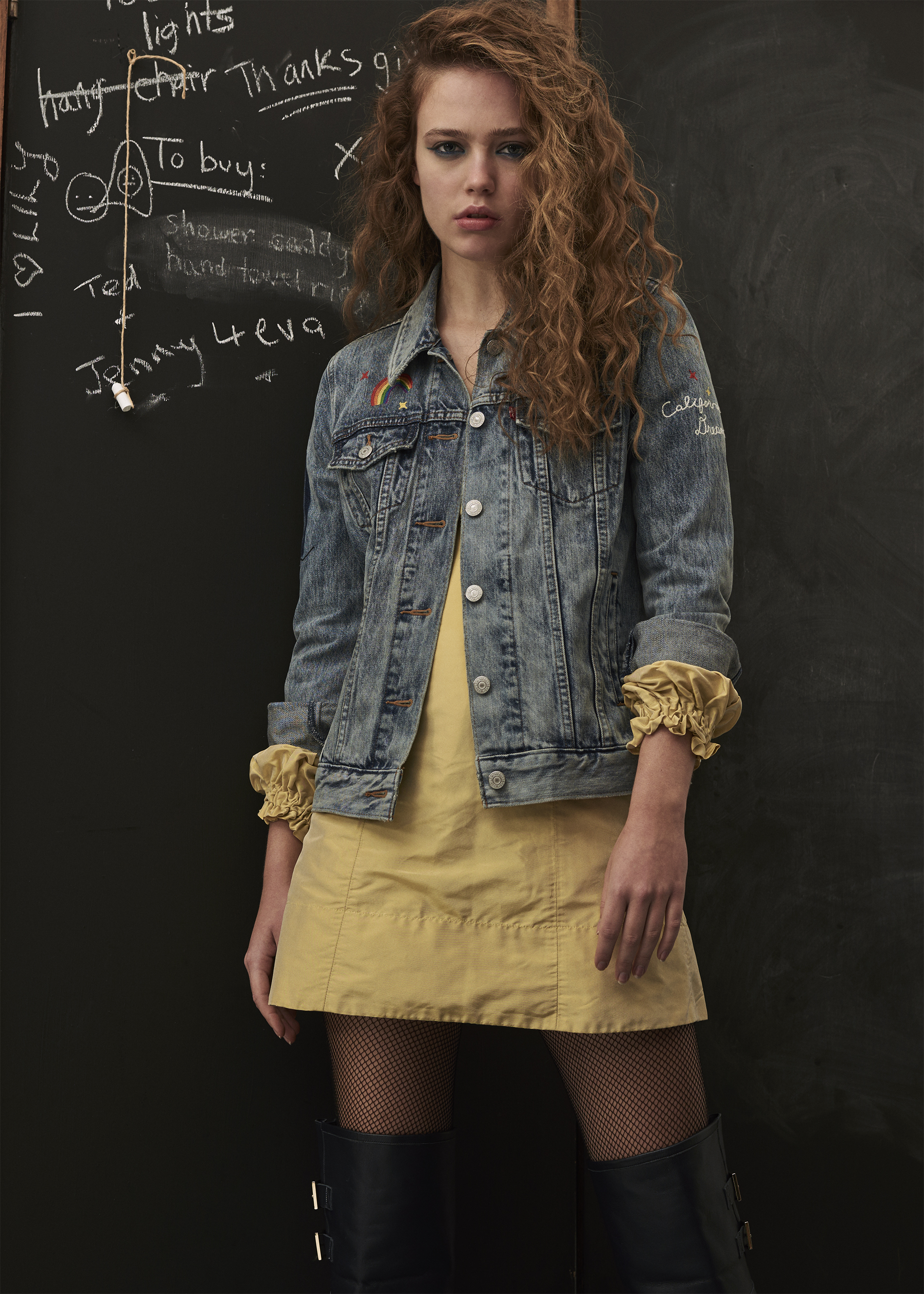 jacket  LEVIS , dress  MOLLY GODDARD,  tights  WOLFORD , boots  RED VALENTINO , knickers  MIMI HOLLIDAY