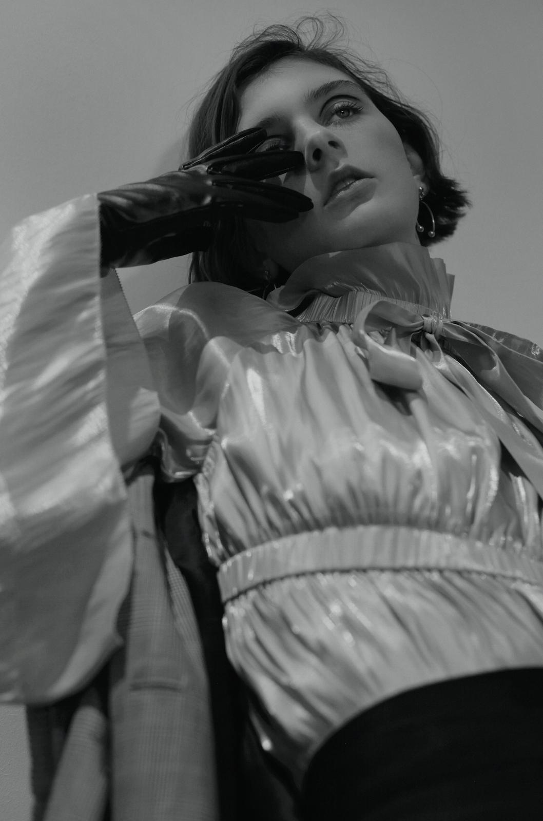 ruffle blouse  ANGEL CHEN , skirt  HANGER , coat  XU ZHI