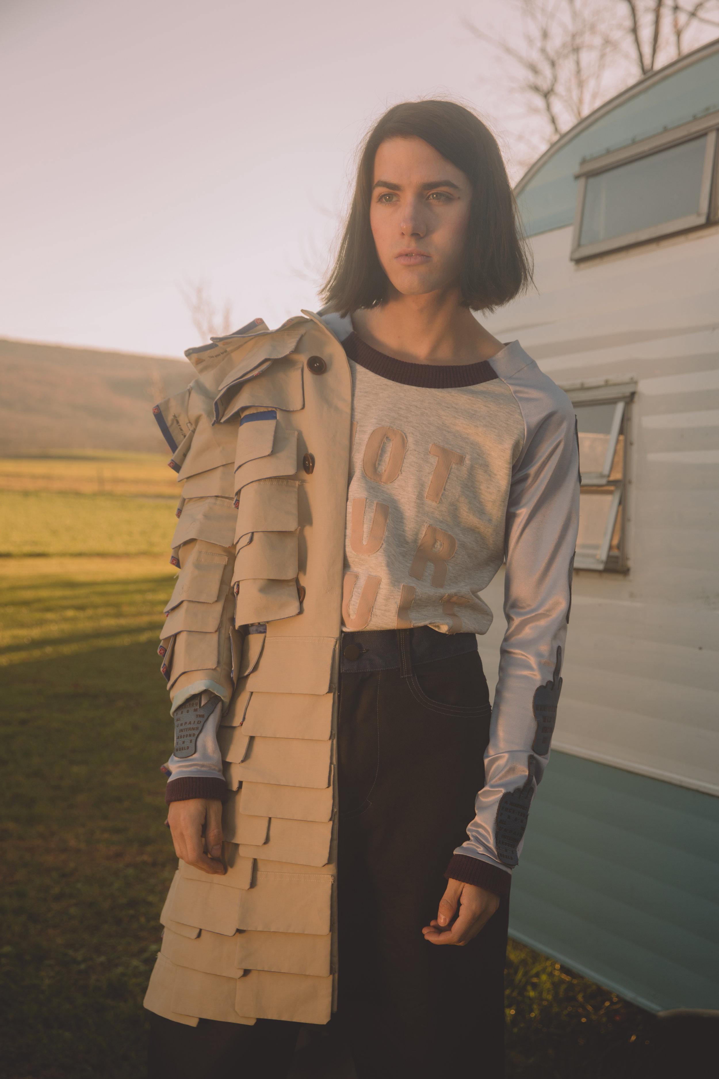 top + trousers NUS GNUYK, coat  ACE KIM