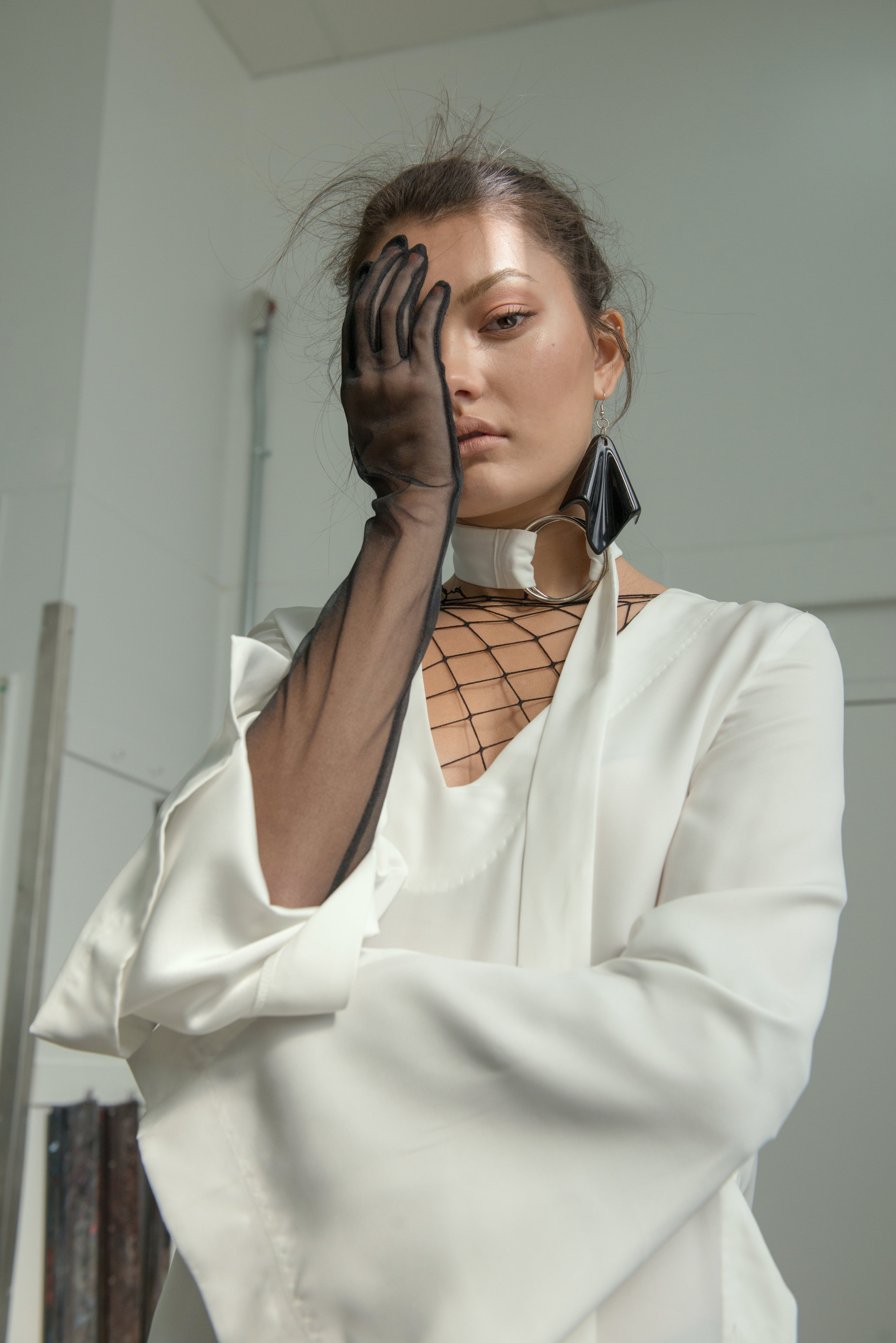 dress + gloves VINTAGE, earrings STYLIST'S ARCHIVE