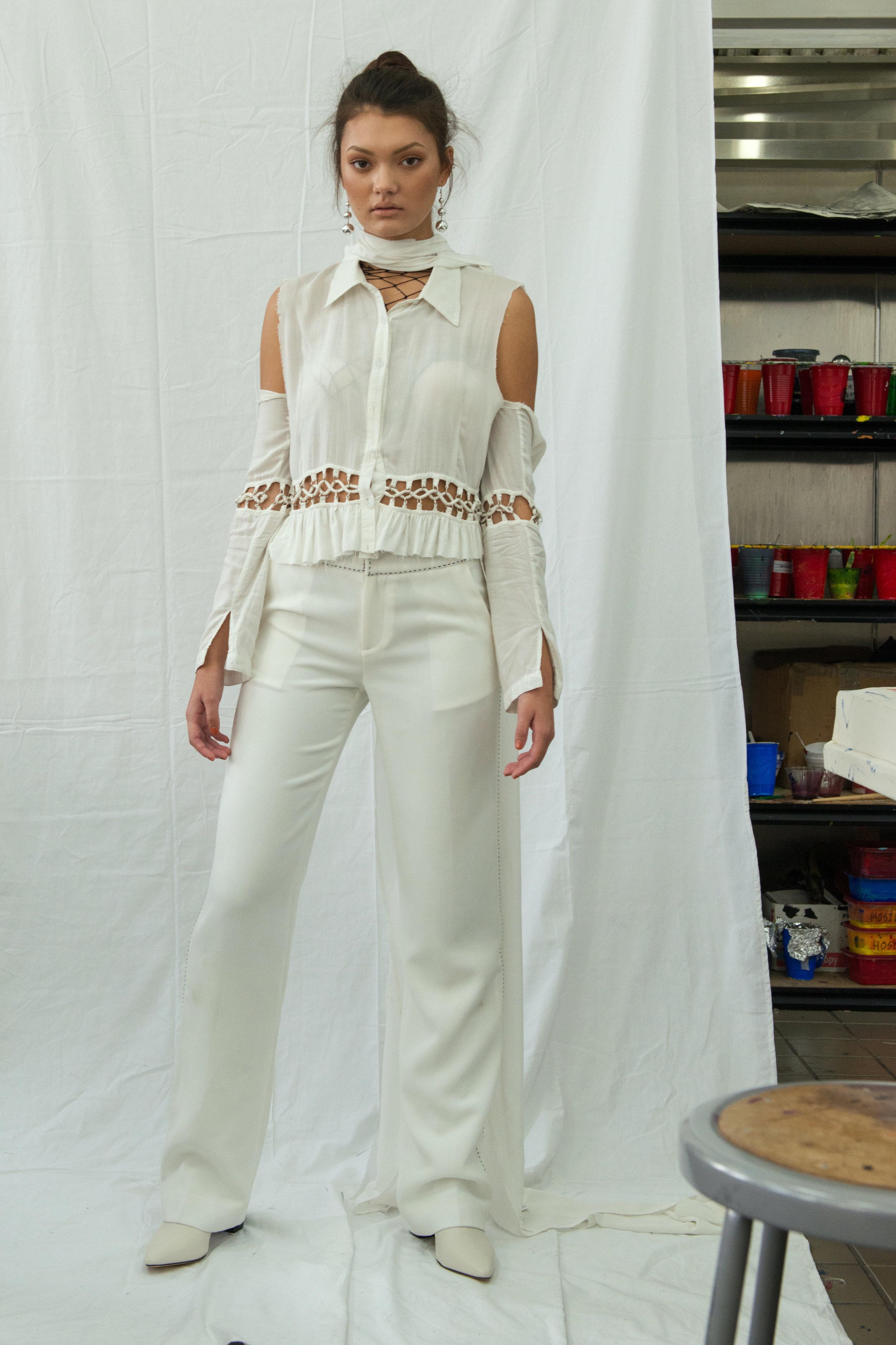 top VINTAGE, trousers  HANLEY ,boots  CALVIN KLEIN ,accessories STYLIST'S ARCHIVE