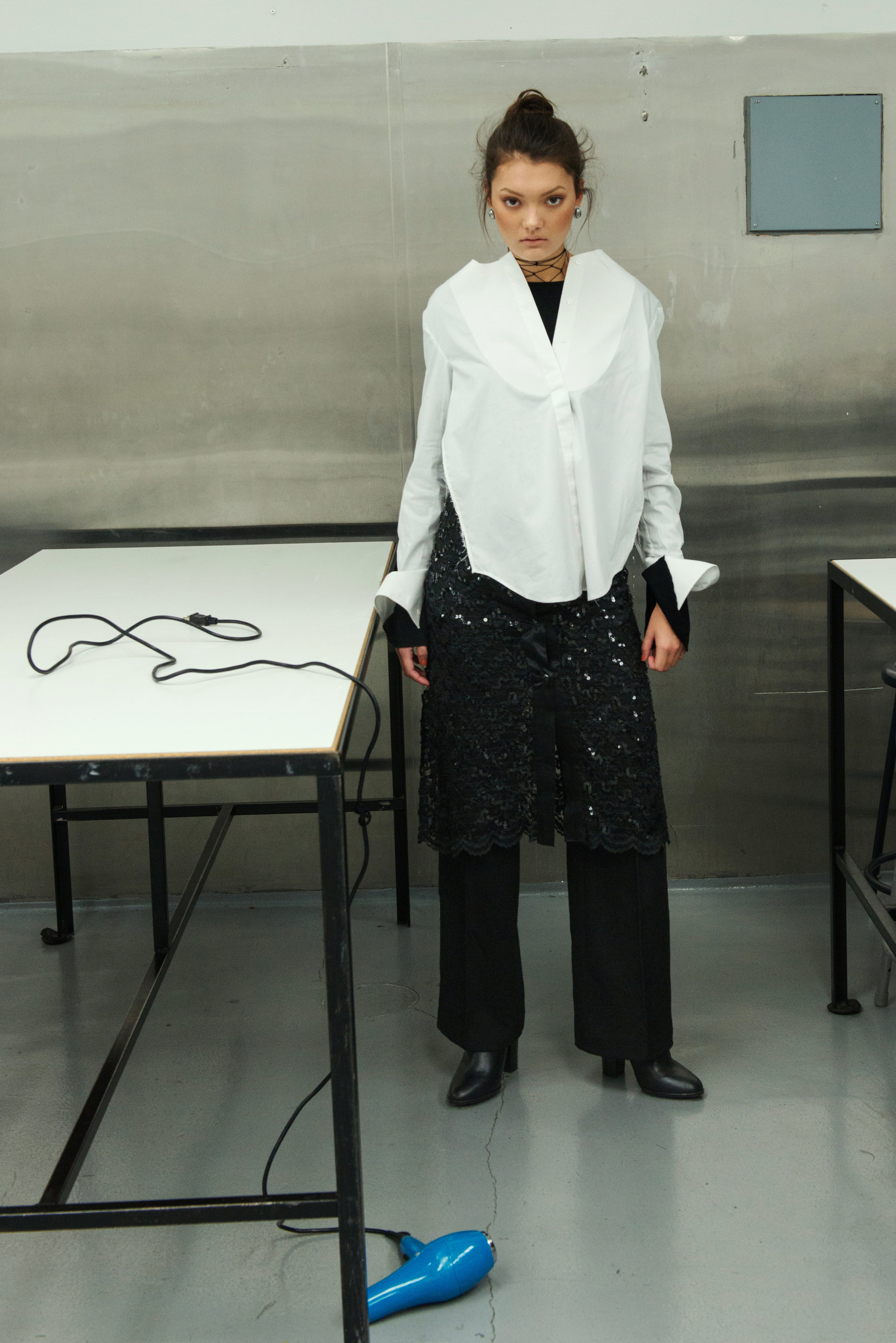 underlay ZARA, top + trousers  H&M , skirt VINTAGE,boots  ALDO , earrings STYLIST'S ARCHIVE