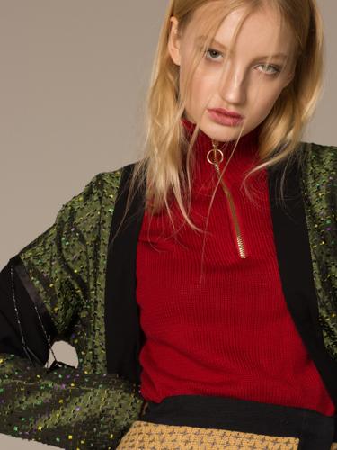 green jacket  ELMIRA MARKES , red jacket + cloak  ZARA dress  SORRY I'M NOT ,