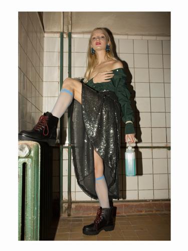 green shirt  ELMIRA MARKES , skirt  SORRY I'M NOT ,shoes  ZARA , socks  CALZEDONIA