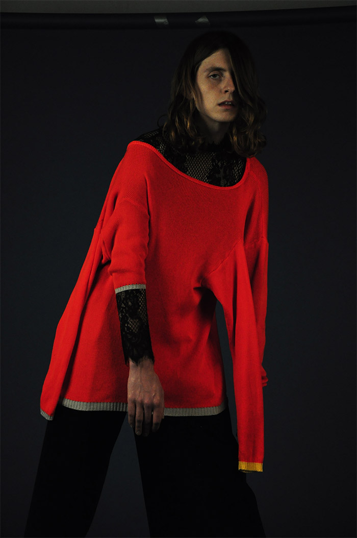 knit jumper VALENTINA KARELLAS, top VINTAGE, leather pants SOPHIE CULL CANDY
