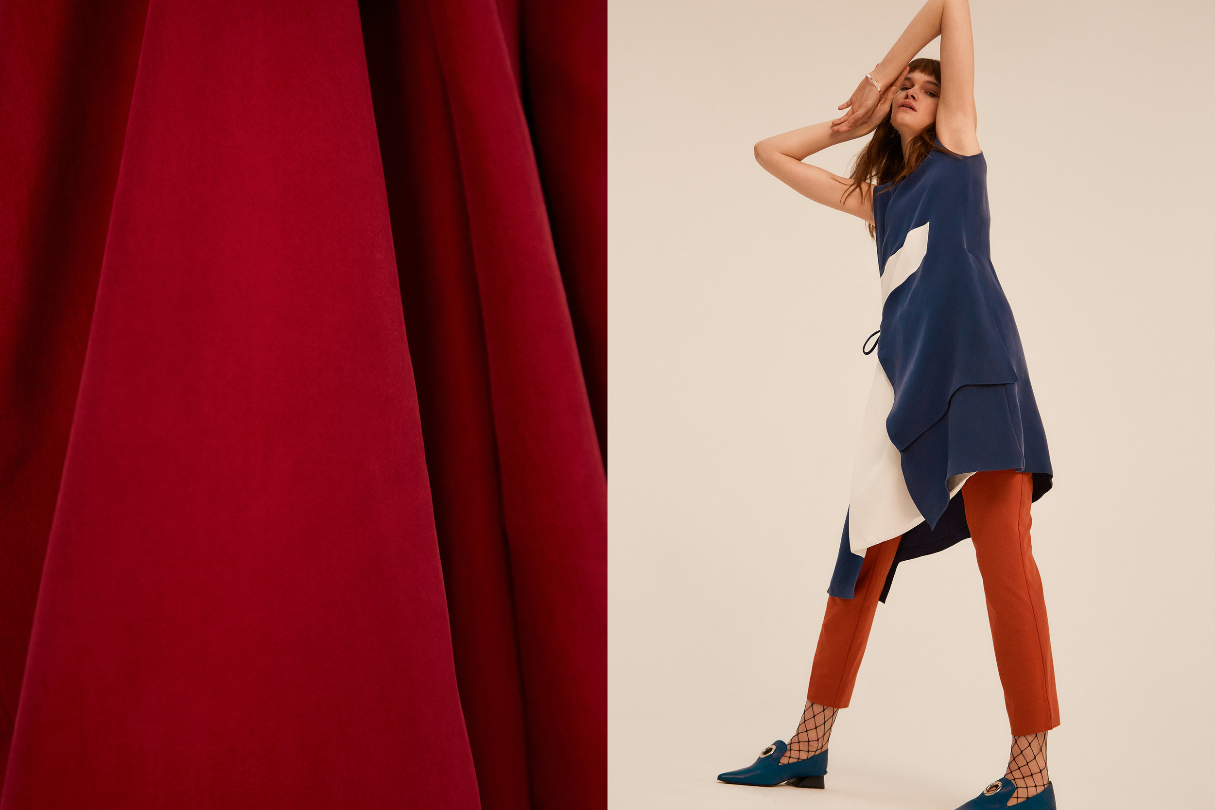 LEFT burgundy silk trousers  JOSEPH , RIGHT blue + cream silk dress  JAEHA , orange trousers  2ND DAY , fishnet tights  WOLFORD ,shoes with eyelet details  REJINA PYO X  YUUL YIE