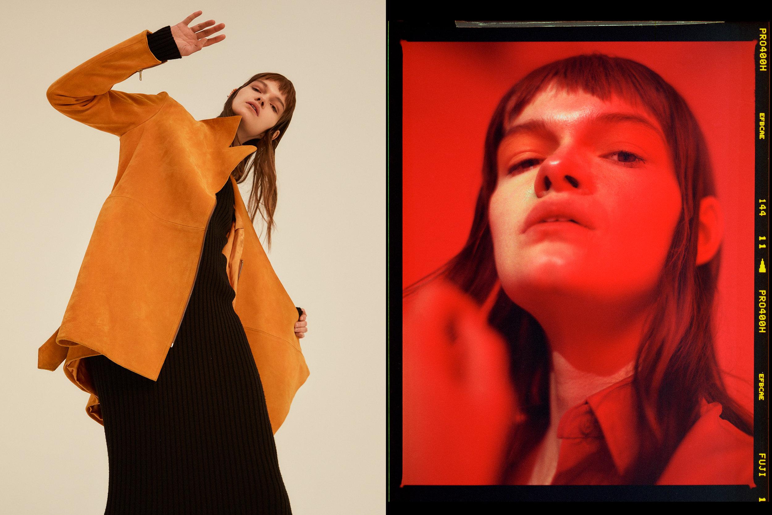 LEFT yellow suede jacket  GABRIEL VIELMA  ,black ribbed cotton dress  JOSEPH , RIGHT red silk shirt  JOSEPH ,