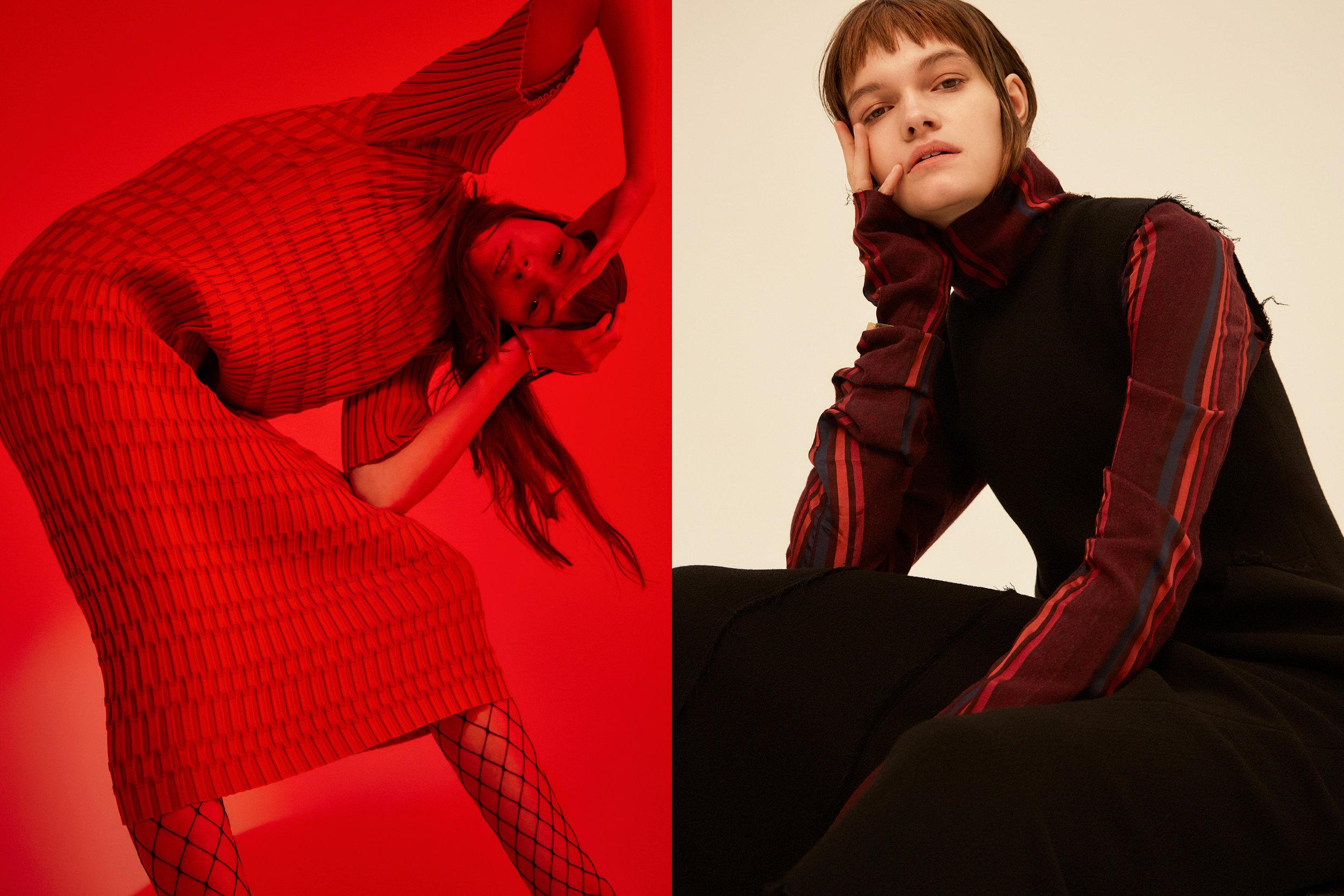 LEFT red textured dress  JOSEPH ,fishnet tights  WOLFORD ,gold bangle  MIANSAI, RIGHT striped long sleeve top +black textured dress  HAIZHEN WANG