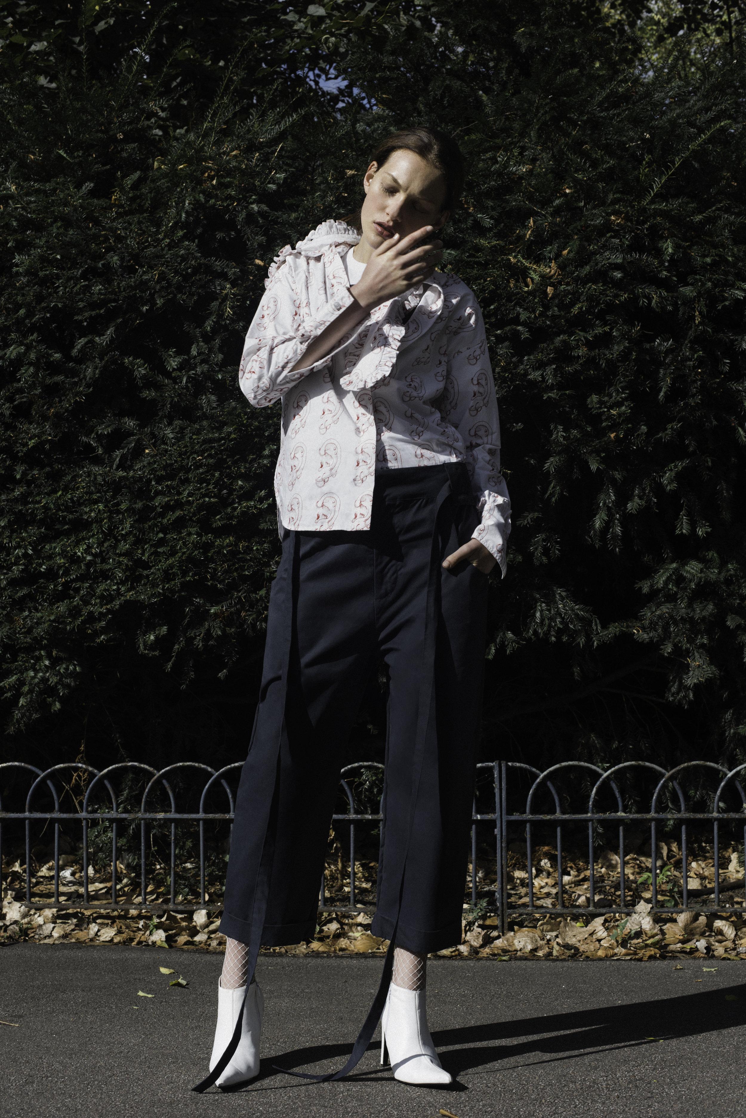 shirt  ASHLEY WILLIAMS , t-shirt  BLK DENIM , trousers  PHOEBE ENGLISH , shoes  FAUSTINE STEINMETZ