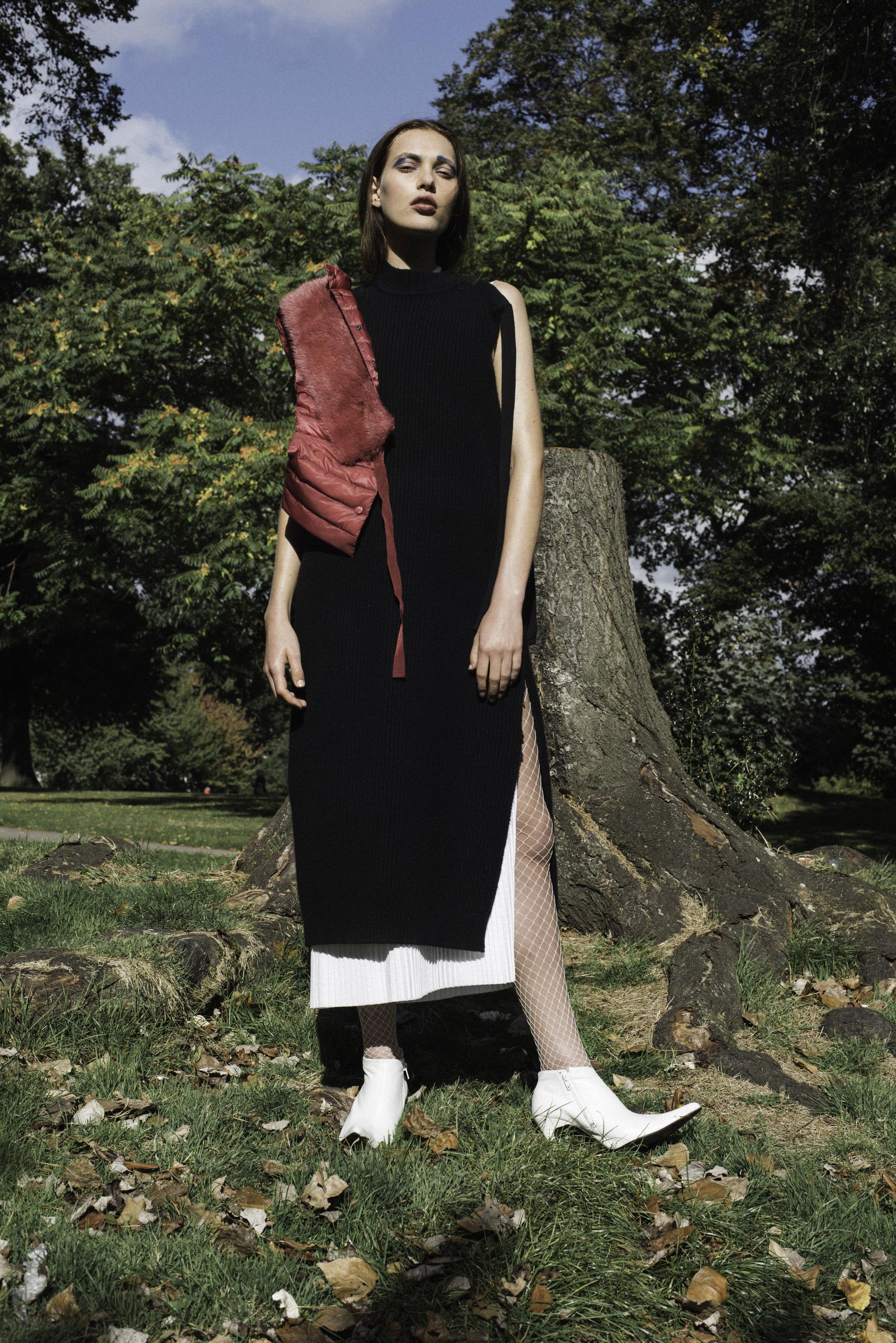 vest  MONCLER , knit dress  PHOEBE ENGLISH xJOHN SMEDLEY, dress YULIA KONDRANINA,shoes  FAUSTINE STEINMETZ