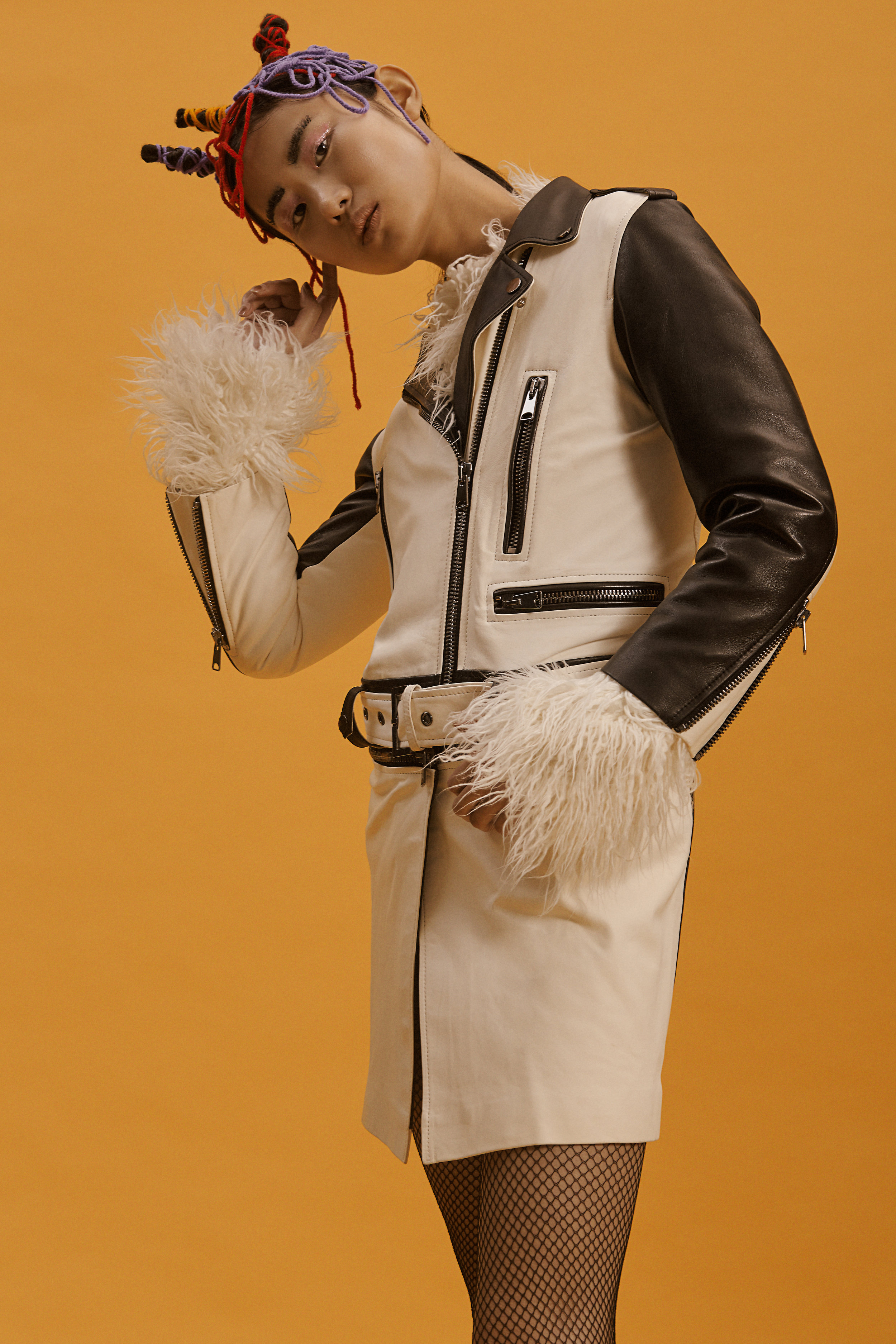 long leather jacket OUTKASTPEOPLE furry top NATALIE KOLYOZYAN