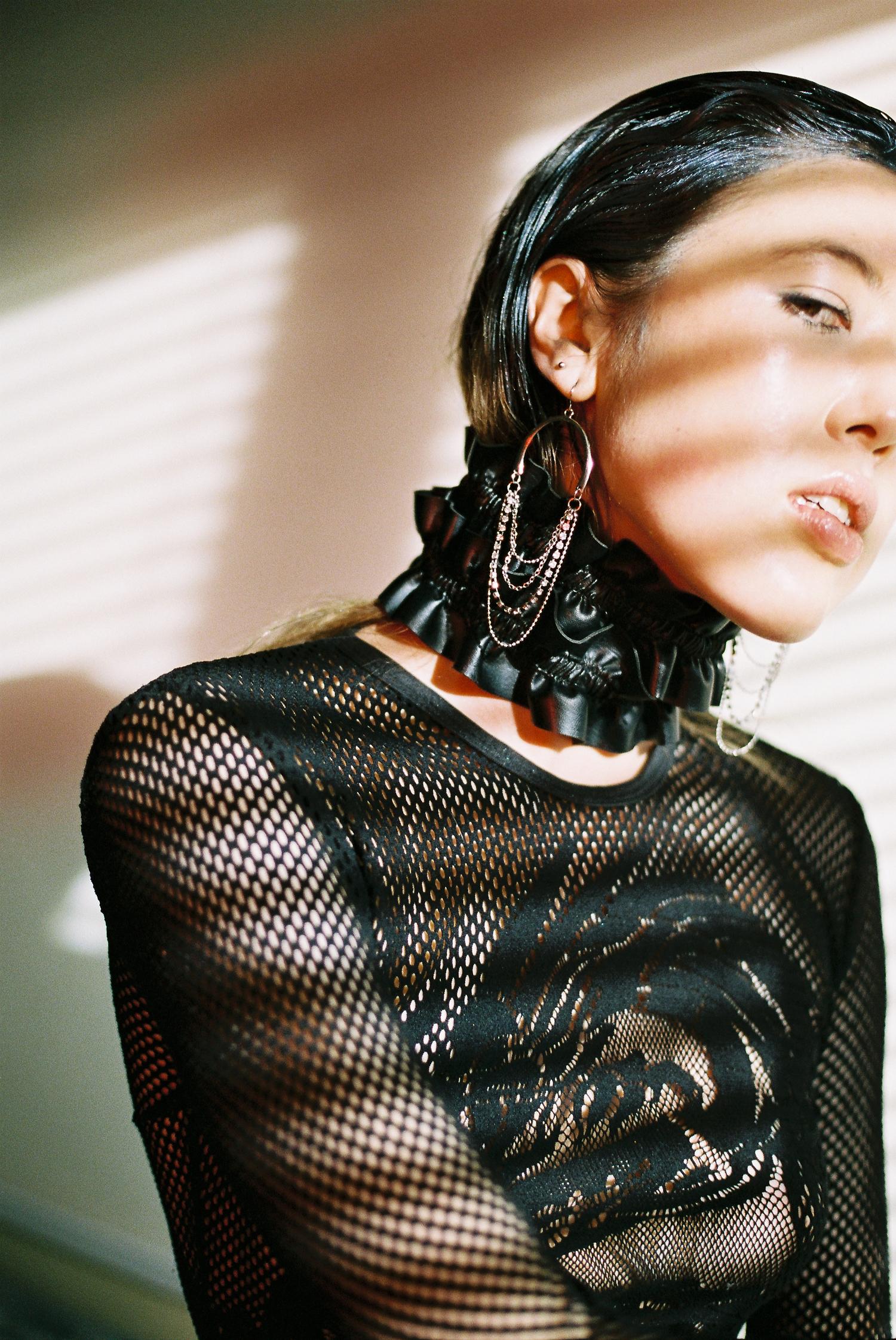 dress  FILLES A PAPA , belt worn as choker  CELINE,  boots + jewellery STYLIST'S OWN