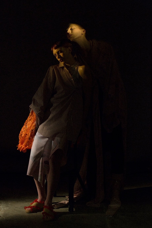 LEFT shirt ALVA BROSTEN, dress H&M CONCIOUS EXCLUSIVE, shoes GANNI, RIGHT kimono + showpiece MARDOU & DEAN, pants HAIK,