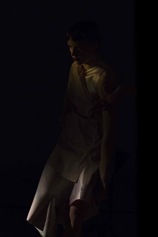 shirt ALVA BROSTEN, dress H&M CONCIOUS EXCLUSIVE, shoes GANNI,
