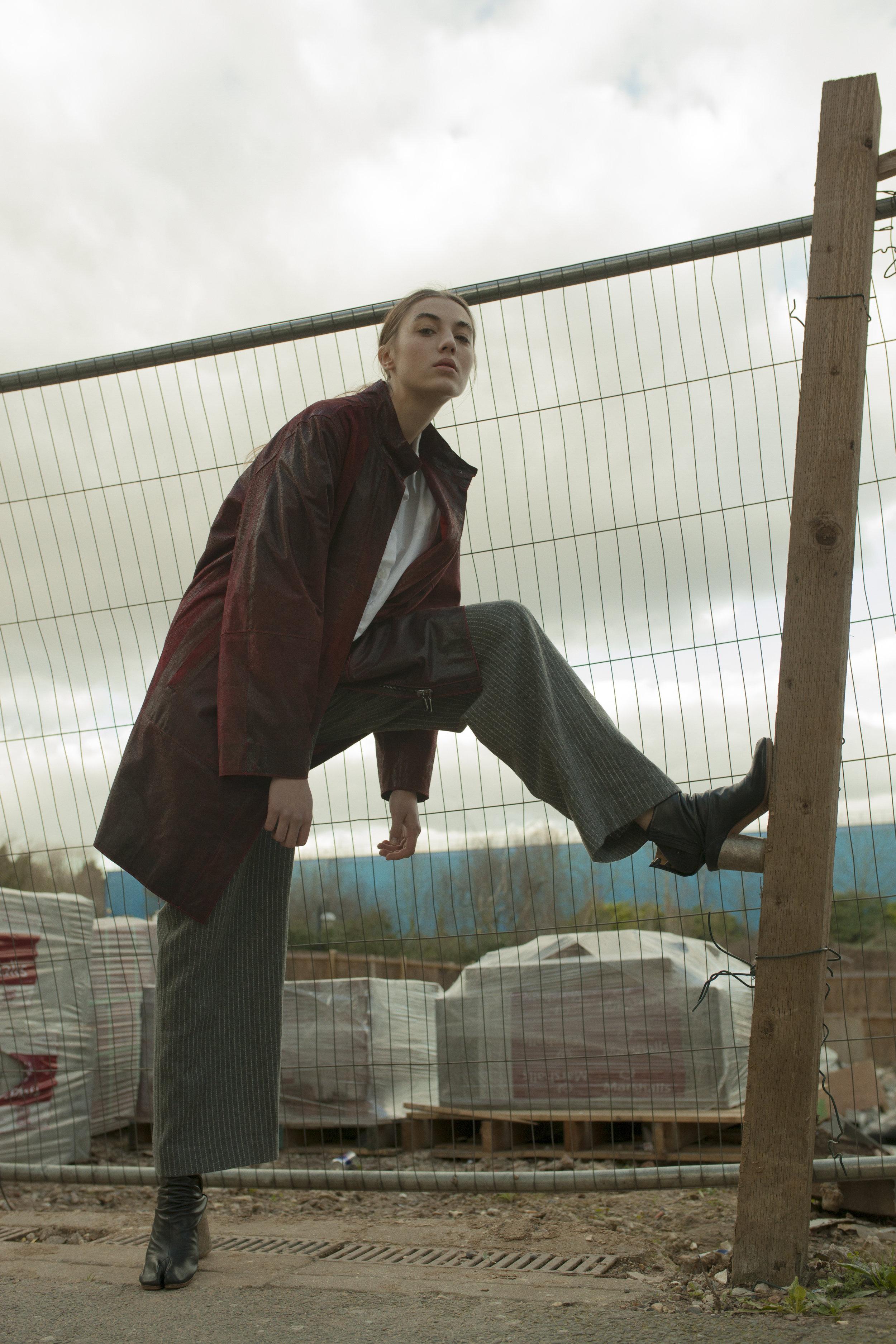 jacket and trousers STYLIST'S OWN, shirt MM6 MAISON MARGIELA, boots MAISON MARGIELA