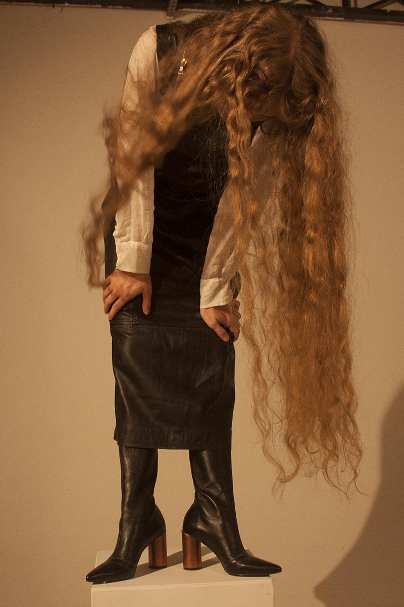 dress A LA GARCONNE, chemise under dress BOTTEGA VENETTA, boots Reinaldo Lourenço.