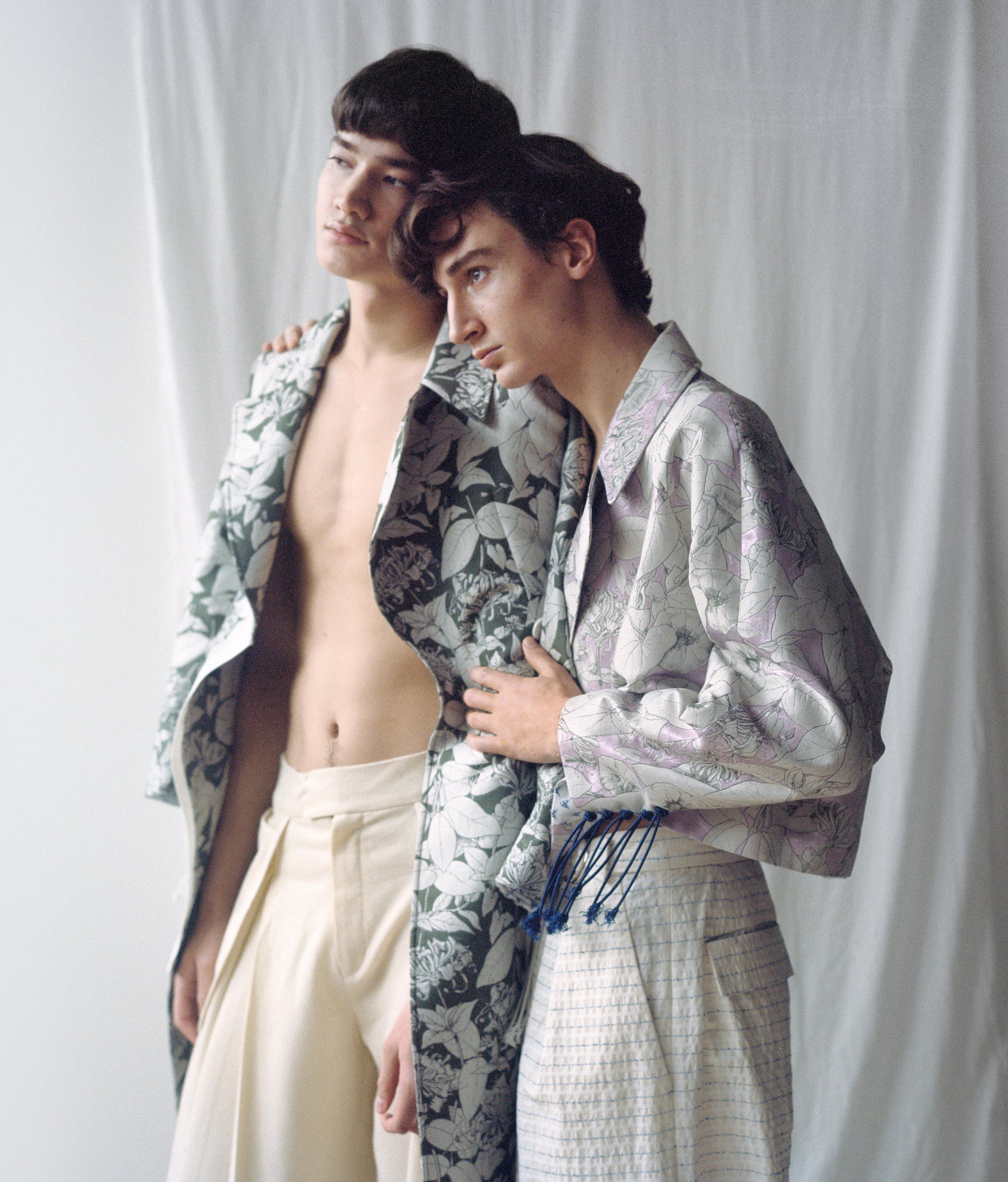 right coat + pants DAWEI, left pants GONG RAN