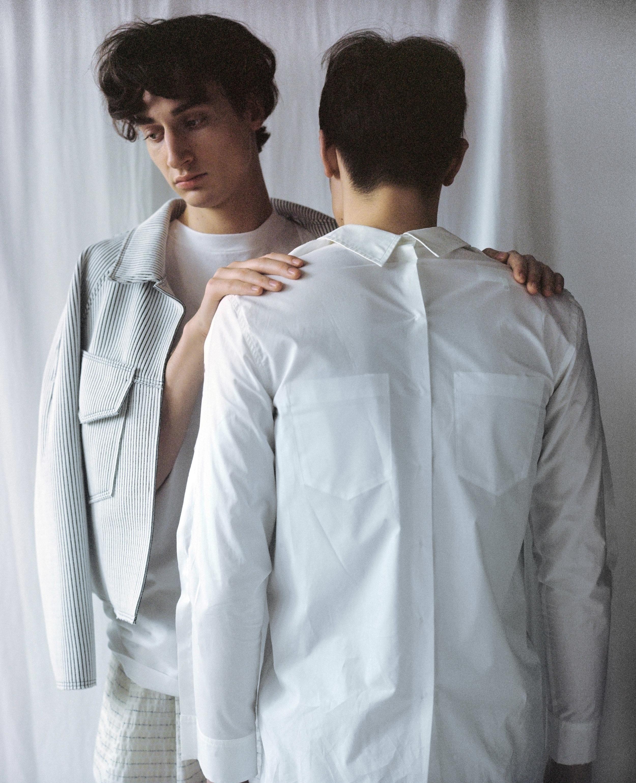 shirt + top MM6, coat + pants DAWEI