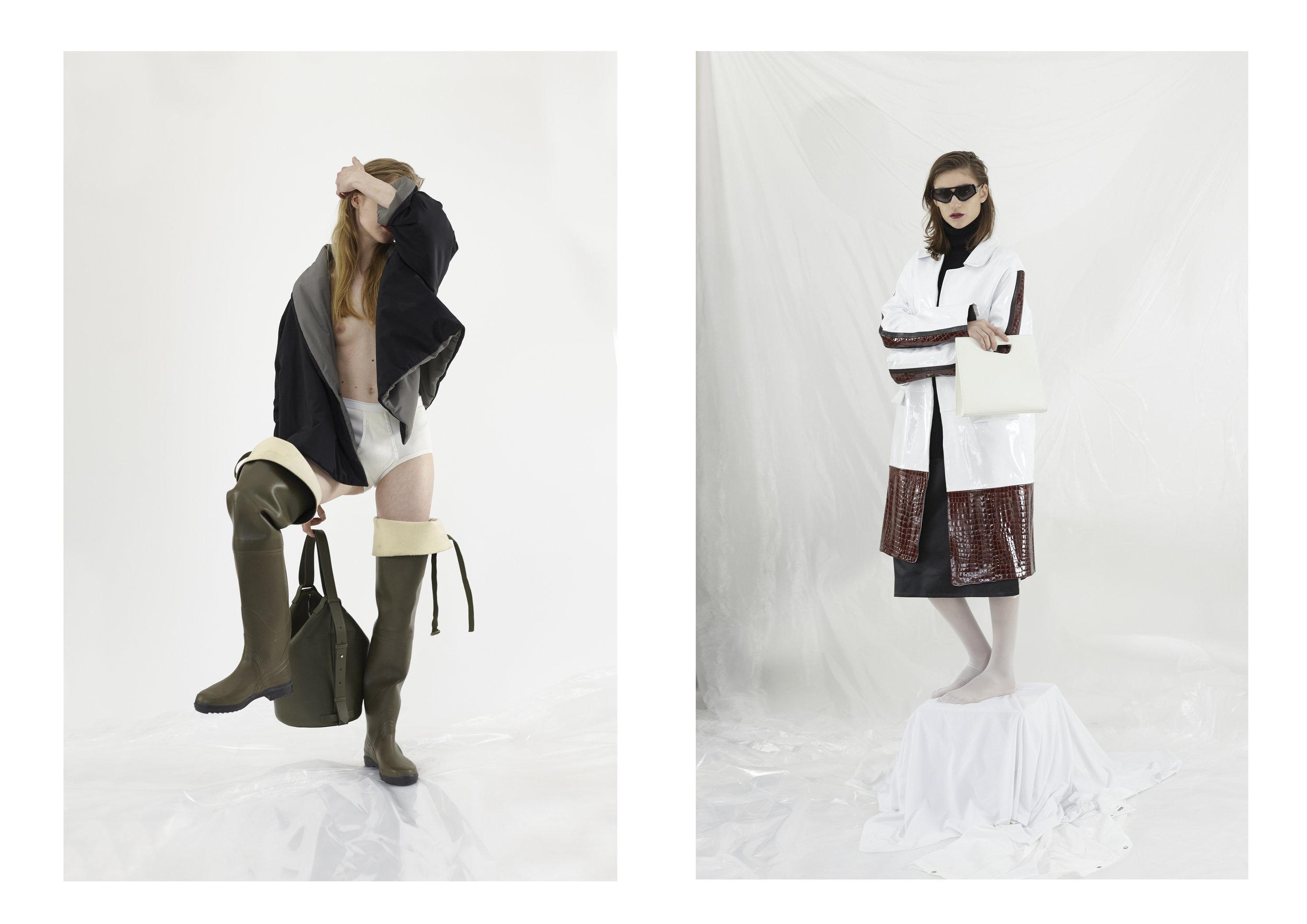 (left): Pierantonio Gasparri Coat, Lariulà Boots, Vintage Underwear, French Connection Bag 2nd (right): Federico Cina Coat, Spazio 76 per Northen Lights Sunglasses, Kitayama Studio Bag, Stylist's own skirt, Calzedonia Tights