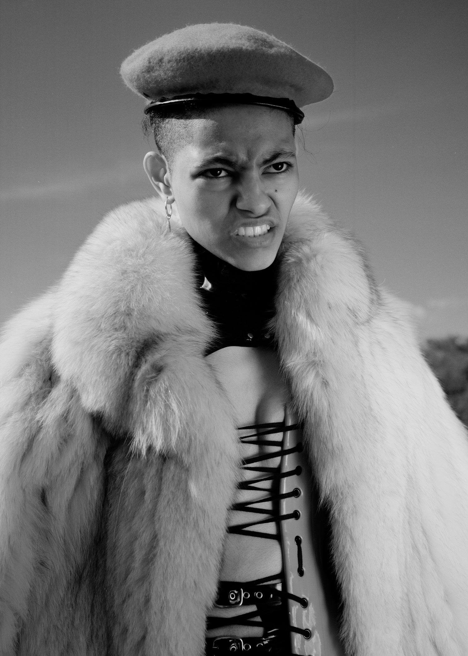corset + underwear + jacket  HOUSE OF HARLOT ,boots TOPSHOP, white coat + hat  BEYOND RETRO ,