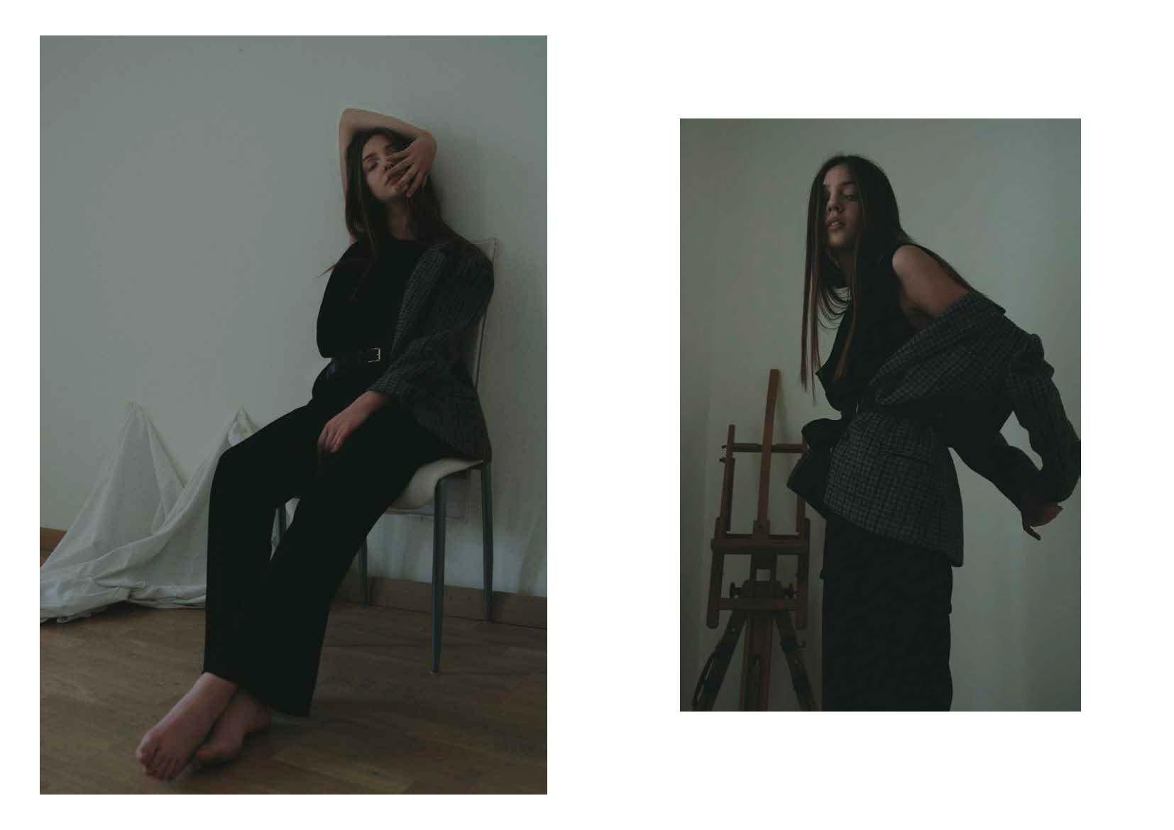 blazer STYLIST ARCHIVE, black top ANN DEMEULEMEESTER, black trousers LUCIO VANOTTI, belts STYLIST ARCHIVE