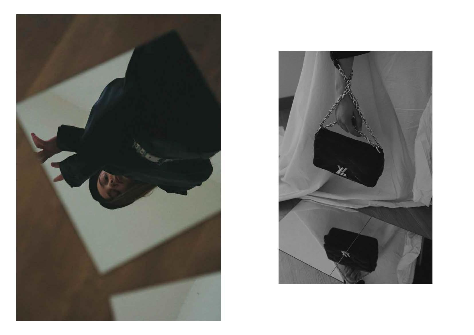 jacket KENZO VINTAGE SELECTION, asymmetrical top JACQUEMUS, black trousers LUCIO VANOTTI, silver belt and black basco STYLIST ARCHIVE, right: matelassé shoulder bag with silver chain LOUIS VUITTON